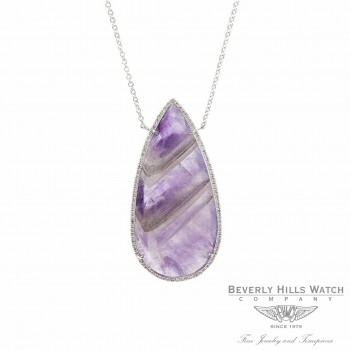 Designs by Naira White Gold Chain Striped Amethyst Micro Set Diamond Halo Setting Ladies Necklace Beverly Hills Jewelry Store
