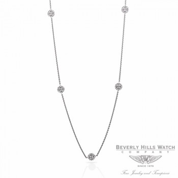 Naira & C Diamond Disc Necklace 18K White Gold YW3W1E - Beverly Hills Jewelry Store