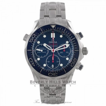 Omega Seamaster Diver Chronograph 41MM Automatic Stainless Steel Blue Dial Bracelet 21230425003001 FFPAWM - Beverly Hills Watch Company Watch Store