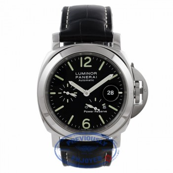 Panerai Luminor Power Reserve 44MM Stainless Steel Black Dial Alligator Strap PAM00090 JZ7XAR - Beverly Hills Watch Company Watch Store