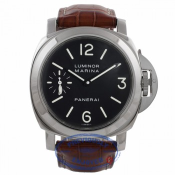 Panerai Luminor Marina 44MM Stainless Steel Black Dial Tan Leather Strap PAM00111 T01ZHQ - Beverly Hills Watch Company Watch Store