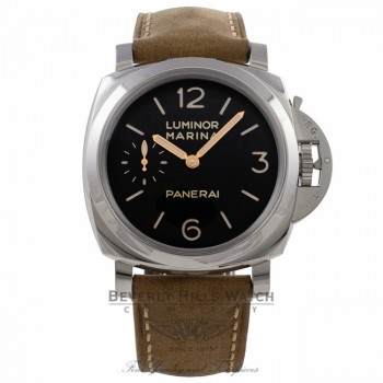 Panerai Luminor Marina 1950 3 Day Power Reserve 47MM Brown Leather Strap PAM00422 ZA7R61 - Beverly Hills Watch Company Watch Store