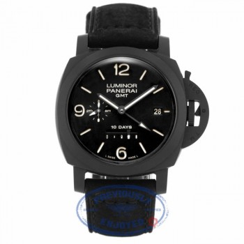 PANERAI Luminor 1950 10 Days Black Dial Ceramic Black Leather PAM00335 HTPD6R - Beverly Hills Watch Company