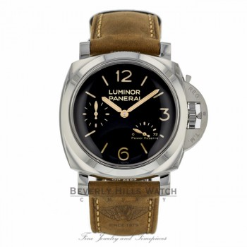 Panerai Historic Luminor 1950 3 Days Power Reserve 47MM Stainless Steel Brown Calfskin Strap PAM00423 XXKCMU - Beverly Hills Watch Company