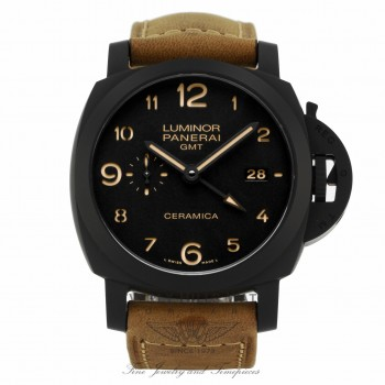 Panerai Luminor 1950 3 Days GMT Black Dial Brown Leather PAM00441 - Beverly Hills Watch