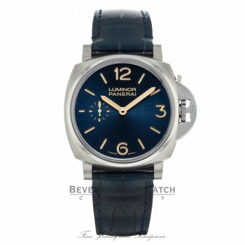 Panerai Luminor Due 3 Days Titanio 42mm Blue Dial PAM00728 7MPL2F - Beverly Hills Watch