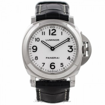 Panerai Luminor Base 44MM Manual Stainless Steel White Dial PAM00114 RJU5W2 - Beverly Hills Watch Company Watch Store