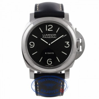 Panerai Luminor Base 8 Day Manual Wind Black Dial Stainless Steel PAM00560 ZL80VY - Beverly Hills Watch Company Watch Store