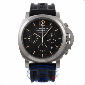 Panerai Daylight Chronograph Orange Markings Black Dial PAM00356 4TJCTW - Beverly Hills Watch Company Watch Store