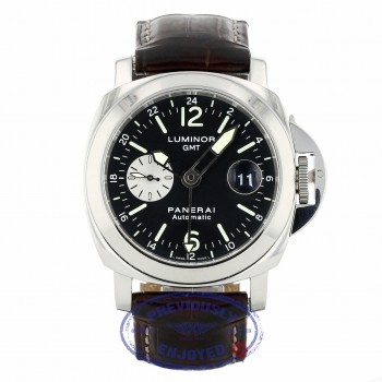 Panerai Luminor GMT 44MM Stainless Steel Black Dial Brown Alligator Strap PAM00088 XT4L9T - Beverly Hills Watch Company
