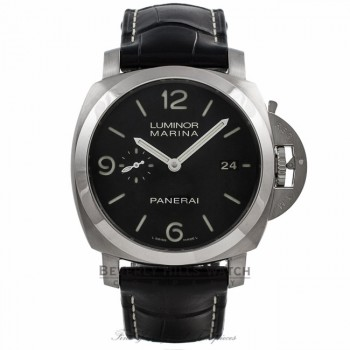 Panerai PAM00312 Luminor Marina Stainless Steel 44mm 1950's Case Leather Strap Automatic PAM00312 QKX6WV - Beverly Hills Watch Company Watch Store