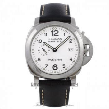 Panerai Luminor Marina 1950 3 Day Power Reserve Stainless Steel White Dial Leather Strap PAM00499  TU9097 - Beverly Hills Watch Company Watch Store