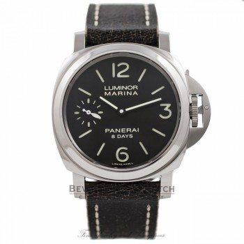 Panerai Luminor Marina 8 Day Power Reserve Black Dial Brown Leather Strap PAM00510 KXTSZW - Beverly Hills Watch Company Watch Store