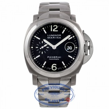 Panerai Luminor Marina Stainless Steel Titanium 44MM Black Dial Bracelet PAM00165 UPAP99 - Beverly Hills Watch Company Watch Store