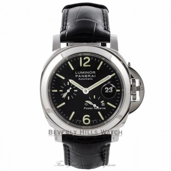Panerai Luminor Power Reserve 44MM Stainless Steel Black Dial Alligator Strap PAM00090 8PTLAM - Beverly Hills Watch Store