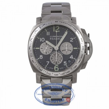 Panerai Luminor Titanium 40MM Grey Dial Chronograph Bracelet PAM00121 2H0F7D - Beverly Hills Watch Company Watch Store