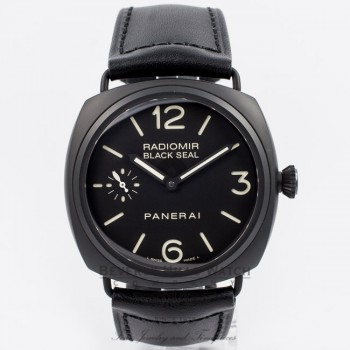 Panerai PAM00292 Radiomir 45mm Black Ceramic Case Black Dial Manual Wind Leather Strap Watch PAM292O Beverly Hills Watch Company Watch Store