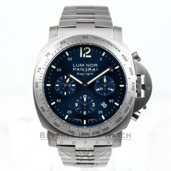 Panerai PAM00327 Luminor Daylight Titanium Chronograph Blue Dial Watch -PAM327- Beverly Hills Watch Company Watches