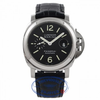 Panerai Luminor Marina Stainless Steel 44MM Black Dial PAM 104 U1646M - Beverly Hills Watch Company Watch Store