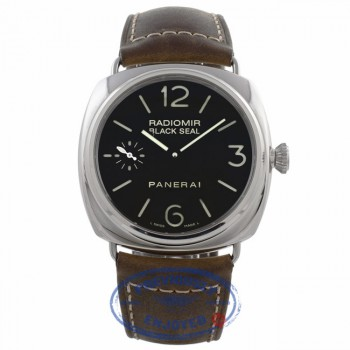 Panerai Radiomir Black Seal 45MM Stainless Steel Brown Leather Strap PAM00183 92NC39 - Beverly Hills Watch Company Watch Store