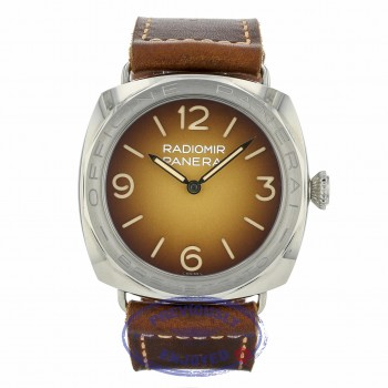 Panerai Radiomir 3 Days Acciaio Brevettato Manual Wind 47mm Stainless Steel Brown Dial and Strap PAM00687 8LTQMM - Beverly Hills Watch