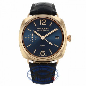 Panerai Radiomir 47mm GMT Oro Rosso Blue Dial PAM00598 28Q19A - Beverly Hills Watch Company
