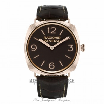 Panerai Radiomir 3 Days Ora Rosa Mechanical Brown Dial Brown Leather PAM00379 790439 - Beverly Hills Watch