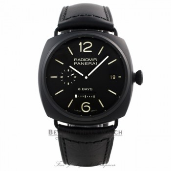 Panerai Radiomir 8 Days Black Dial Automatic Black Ceramic Case Leather Strap PAM00384 Y0VJ59 - Beverly Hills Watch Company Watch Store