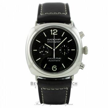 Panerai Radiomir 42mm Stainless Steel Matte Black Dial Chronograph PAM00369 2ZNHY7 - Beverly Hills Watch Company