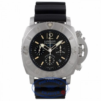 Panerai Submersible Limited Edition Stainless Steel Chronograph Black Dial Black Rubber Strap PAM00187 7R4UV0 - Beverly Hills Watch Company Watch Store