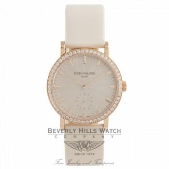 Patek Philippe Calatrava 31MM ladies 18k Rose Gold Diamond Bezel Guilloched Cream Dial 7120R-001 5VDQNX - Beverly Hills Watch Company Watch Store