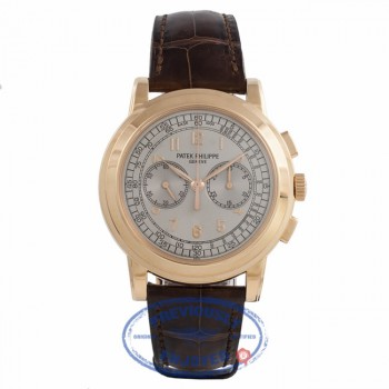 Patek Philippe Classic Chronograph Rose Gold Silver Dial Brown Alligator Strap 5070R-001 DD107L - Beverly Hills Watch Store