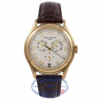 Patek Philippe Annual Calendar Complication Yellow Gold Cream Dial Brown Alligator Strap 5035J-001 C21VUW - Beverly Hills Watch Store