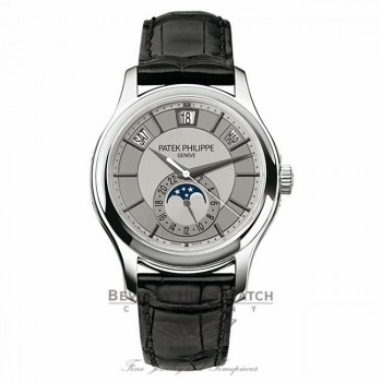 Patek Philippe Complications 18k White Gold Grey Dial Black Leather Strap 5205G-001 MXFF1T - Beverly Hills Watch Company Watch Store