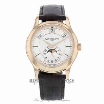 Patek Philippe Annual Calendar Opaline White Dial Brown Leather 5205R/001 QJV194 - Beverly Hills Watch