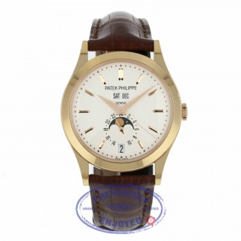 Patek Philippe 38mm Annual Calendar 18k Rose Gold White Dial Alligator Strap 5396R-011 JN9F63 - Beverly Hills Watch Company