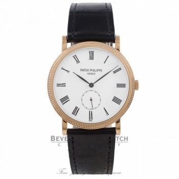Patek Philippe Calatrava 36MM 18k Rose Gold White Dial Roman Markers Black Alligator Strap 5116R-001 WZ76ZX - Beverly Hills Watch Company Watch Store
