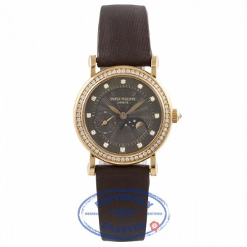 Patek Philippe Ladies Calatrava Moonphase 18k Yellow Gold Bronze Dial Diamond Markings 4858J-010 E8UP20 - Beverly Hills Watch Company Watch Store