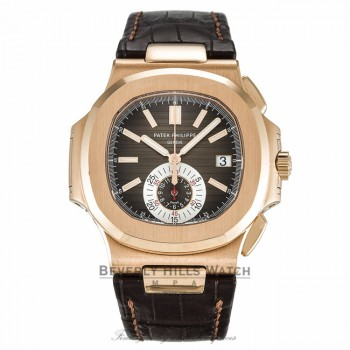 Patek Philippe Nautilus 40MM 18k Rose Gold Brown Dial Brown Alligator Strap 5980R-001 TQ9HFH - Beverly Hills Watch Company Watch Store