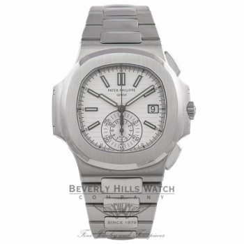 Patek Philippe Nautilus Stainless Steel 40MM Silver Dial Chronograph on Bracelet 5980/1A-019 7H89J8 - Beverly Hills Watch Company Watch Store