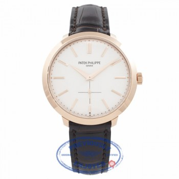 Patek Philippe Calatrava Rose Gold Silver Dial Manual Wind 5123R-001 EBNXPG - Beverly Hills Watch Company Watch Store