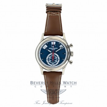 Patek Philippe White Gold Annual Calendar Chronograph Blue Dial 40.5mm 5960/01g-001 1AQVF6 - Beverly hills Watch Company