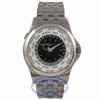Patek Philippe Complication World Time 39MM 18k White Gold Silver Black Sunburst Dial 5130/1G-011 WHHZV2  - Beverly Hills Watch Company Watch Store