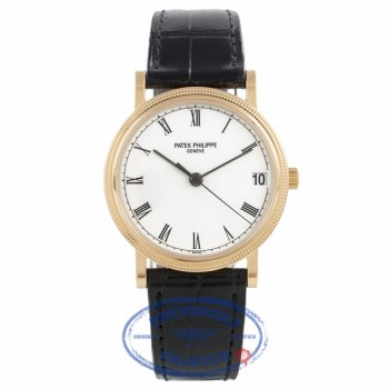 Patek Philippe Calatrava Hobnail Case 18k Yellow Gold 33MM White Dial Black Leather Strap 3802/200 87JLQ6 - Beverly Hills Watch Company Watch Store