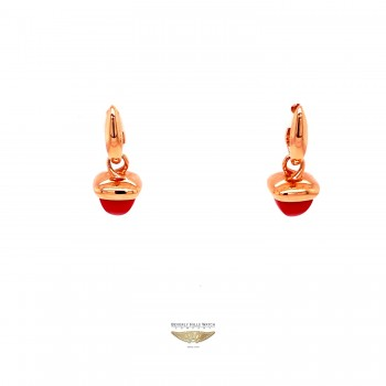 Naira & C Reconstructed Coral Rose Gold Earrings Q77AAE - Beverly Hills Watch and Jewelry Company