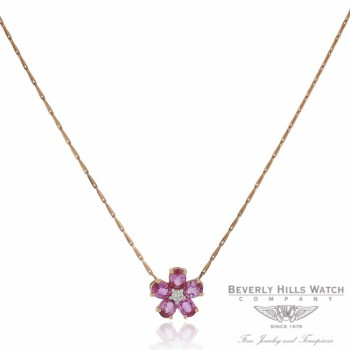 Naira & C Daisy Necklace Pink Sapphires and Diamond QCFAJ2 - Beverly Hills Watch Company