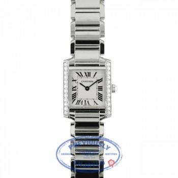 Cartier Custom Tank Francais Small Diamond Bezel Diamond Crown QRFMFG - Beverly Hills Watch Company Watch Store
