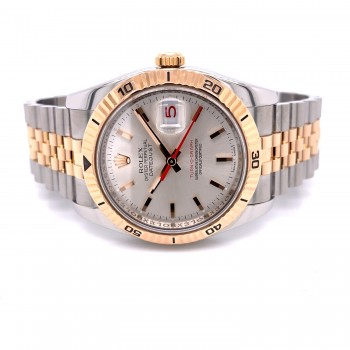 Rolex Datejust Turn-O-Graph 36mm Rose Gold and Stainless Steel Silver Stick Dial 116261 QV7QK1 - Beverly Hills Watch Company