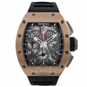 Richard Mille Felipe Massa 18k Rose Gold Titanium Chronograph Annual Calendar Black Rubber Strap RM11 AO RG UJRN33 - Beverly Hills Watch Company Watch Store
