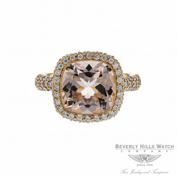 18k Rose Gold Diamonds and Cushion Cut Morganite Ring Size 6 RHH6M0 - Beverly Hills Watch